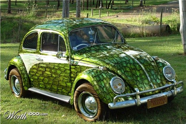 Volkswagen Beetle Animal Custom Paint Job Wooden Tires And Fish Lights Makes This Nature S