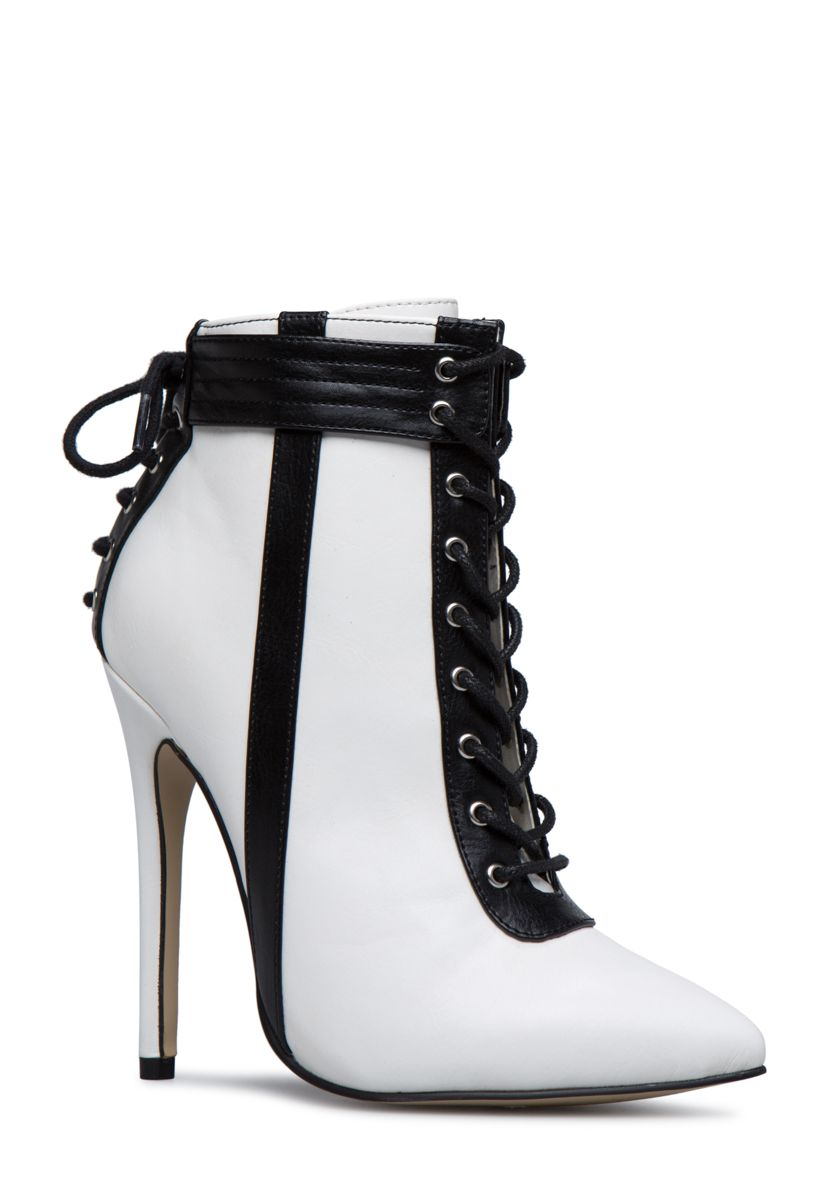 99344908131 Shoedazzle Booties Sacha Corset Lace-Up Bootie Womens Black/White/Black  Size 12