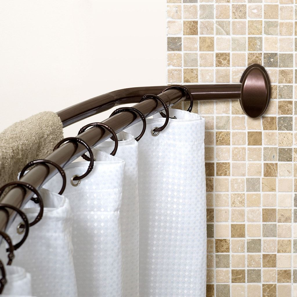 Zenna Home Double Curved Shower Curtain Rod Brown Shower
