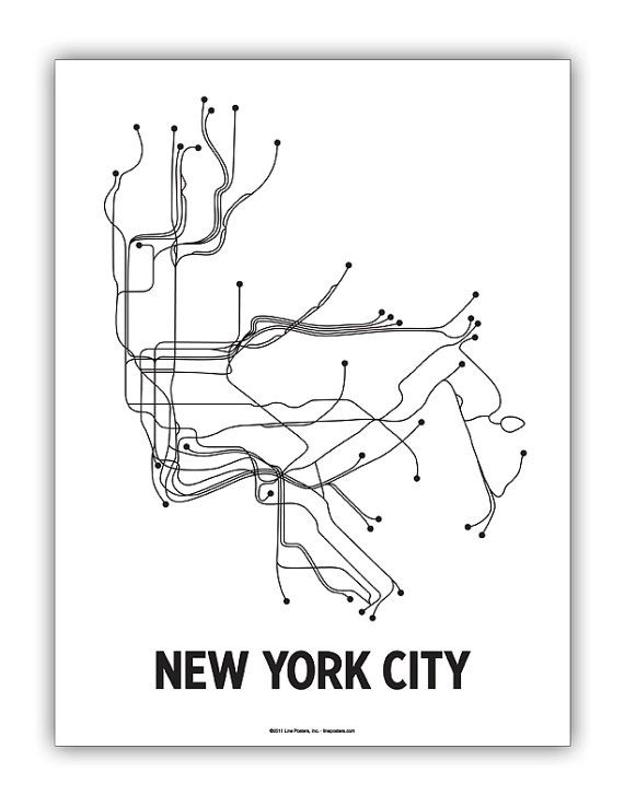 Black White Subway Map.Original Nyc Lineposter White Black Object Lust New York