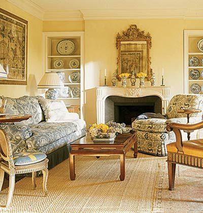 Pretty yellow walls with blue and white accents plus an awesome ...