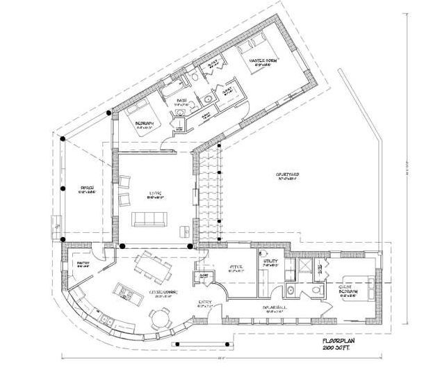 Awesome Strawbalehouse Courtyard House Plans House Floor Plans Cob House