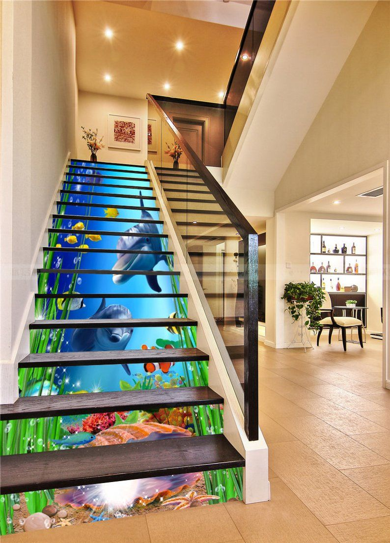 3d Seabed Dolphin Stair Sticker Stair Risers Pvc Sticker Etsy Stair Risers Stair Stickers Stairs