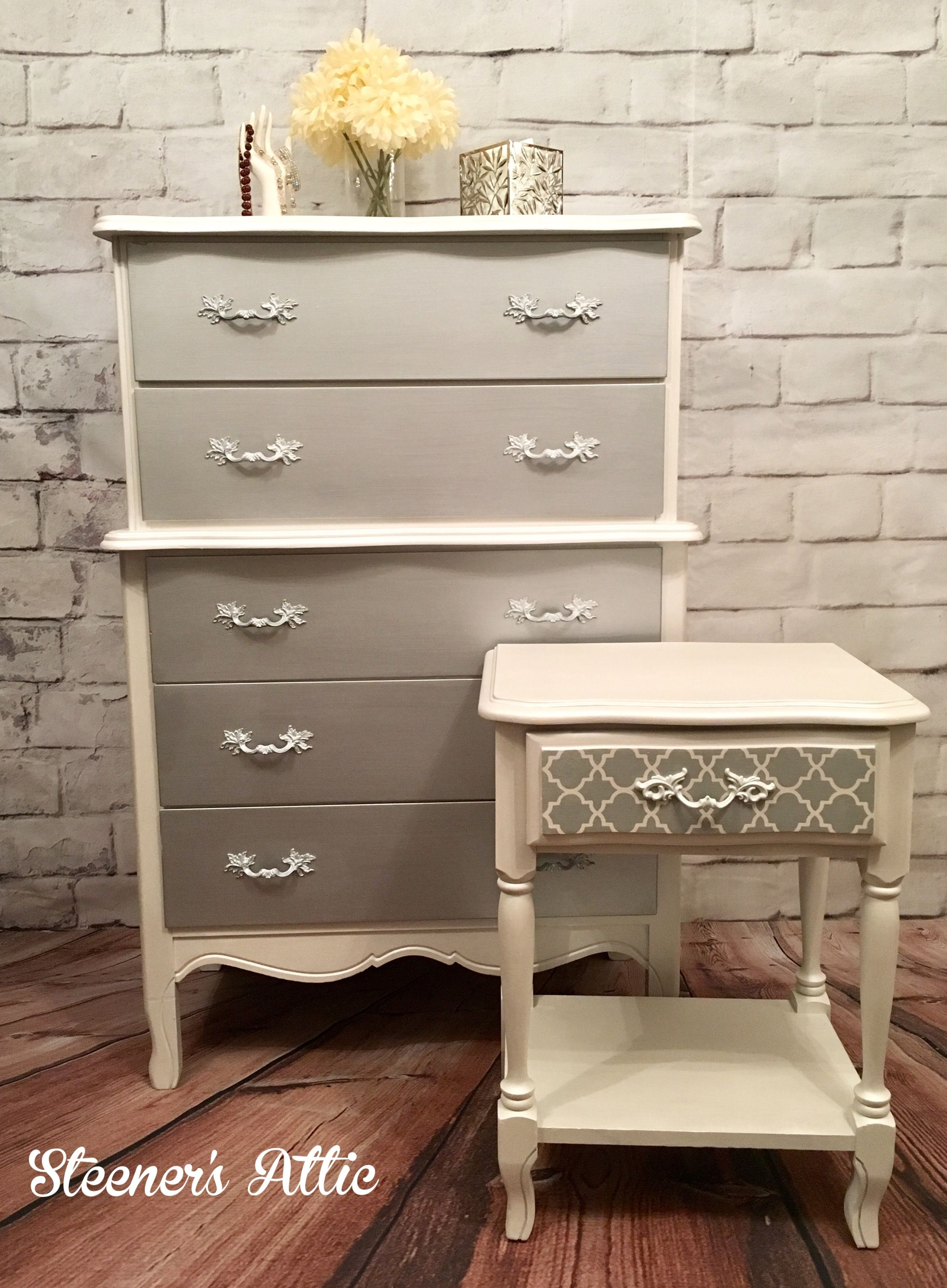 Refinished French Provincial Dresser and Nightstand Metallic Silver