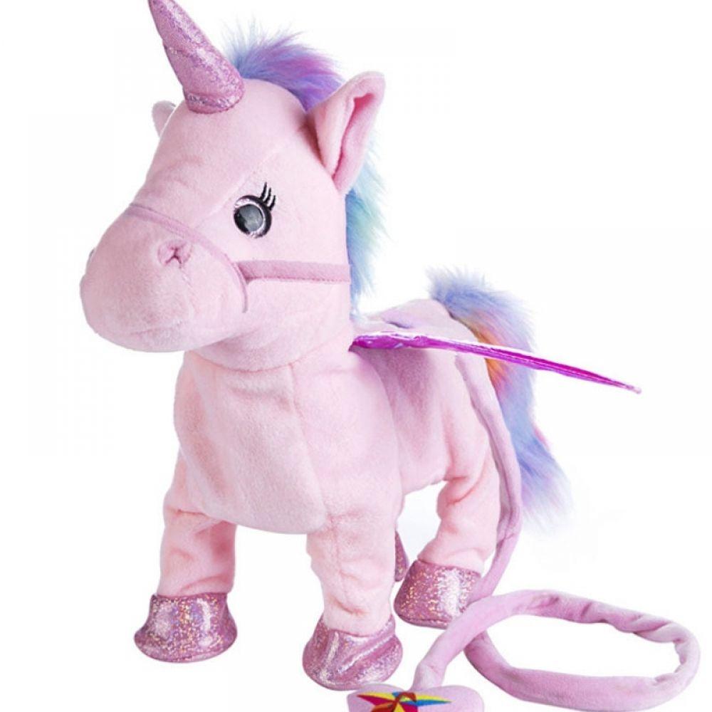 Electric Walking Talking Unicorn Doll Stuffed Fluffy Animals Plush Toy for Kids