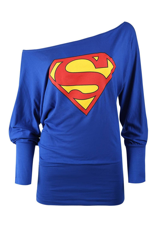 New Womens Batman Superman Print Off Shoulder Loose Fit Baggy Slouch Batwing Top