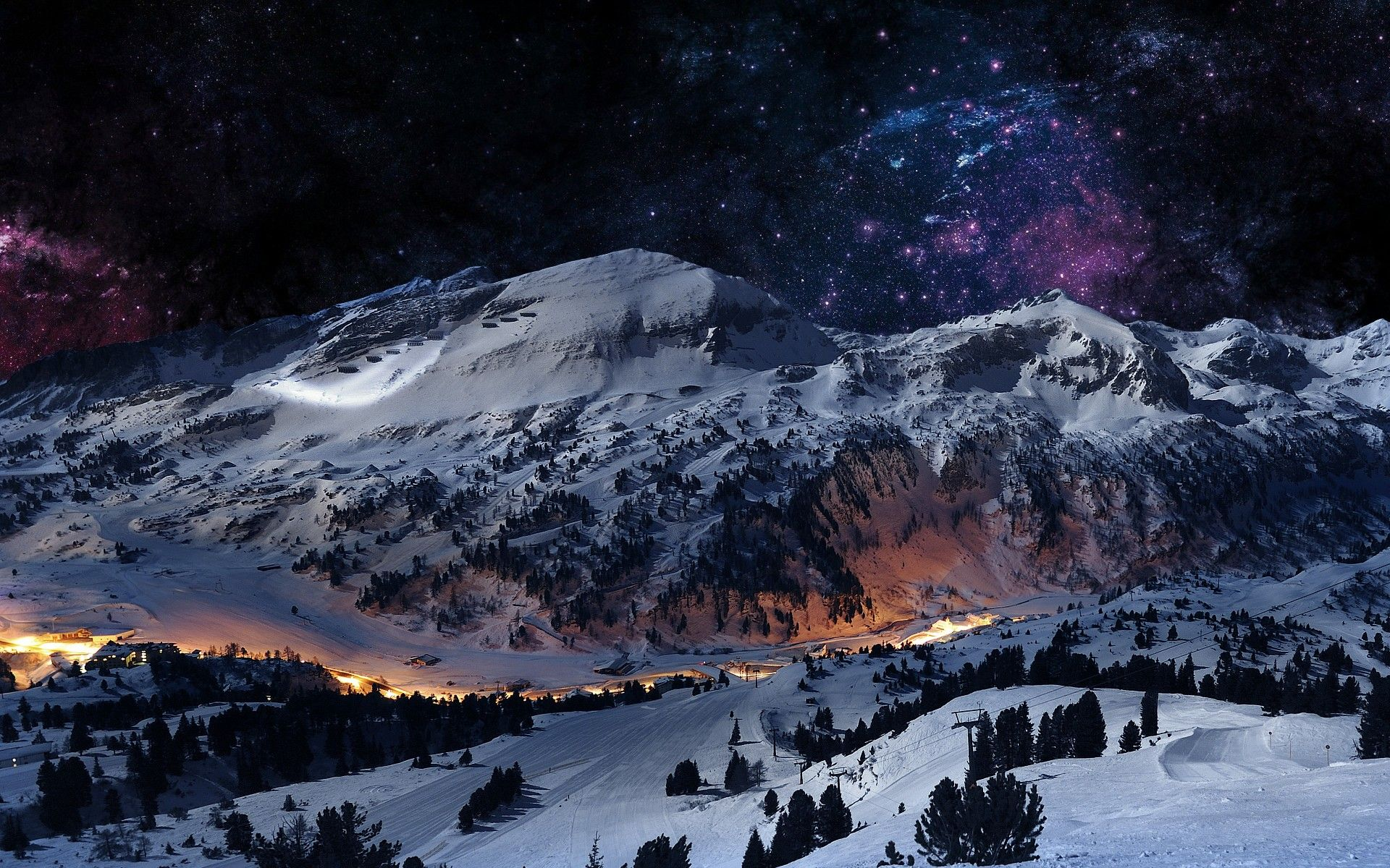 digital art landscapes mountains night sky scene winter hd