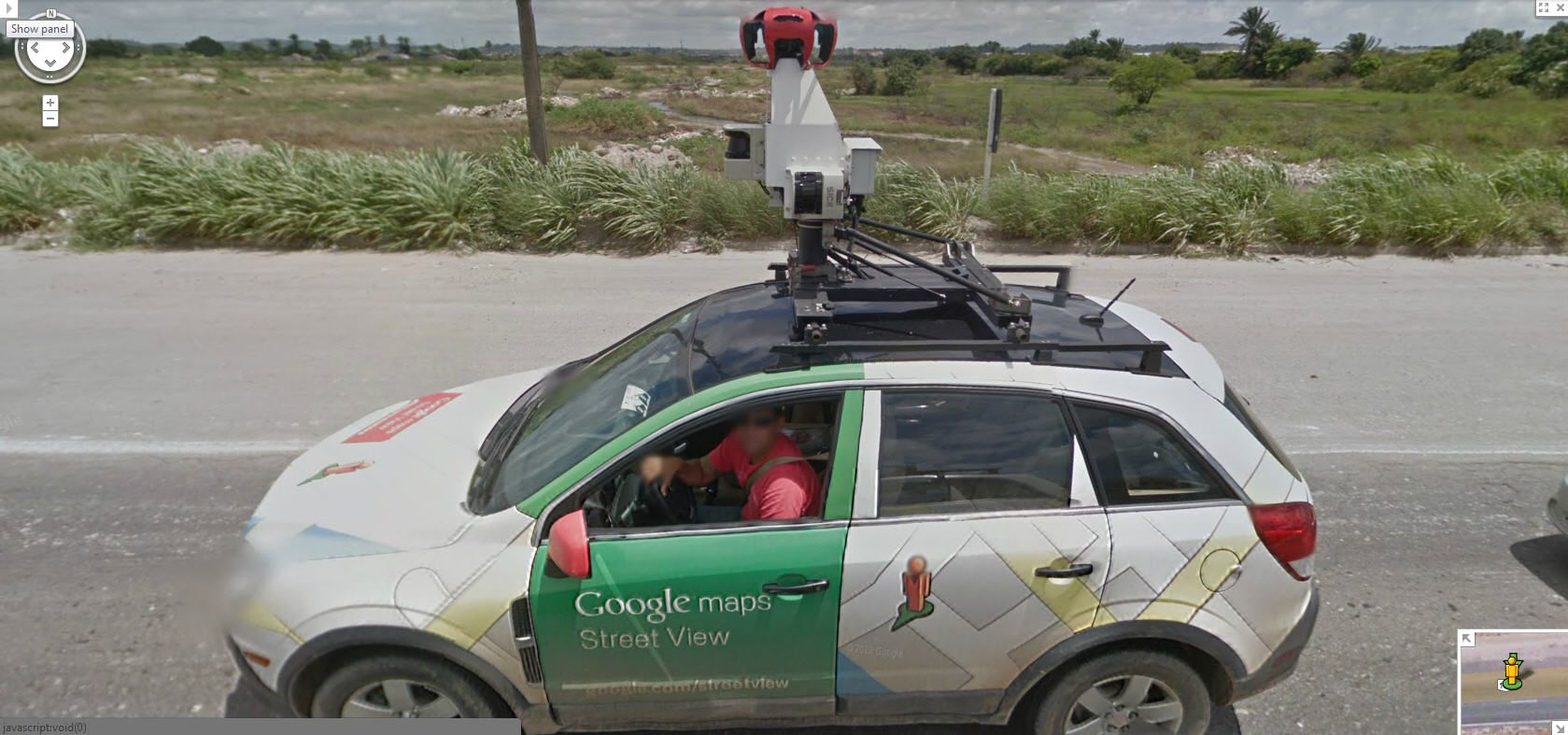 Another awesome picture of the Google Street View driver and car on on