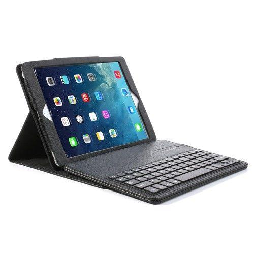 iPad Læder Cover Bluetooth Dansk Tastatur iPad Air 1 & 2 ...
