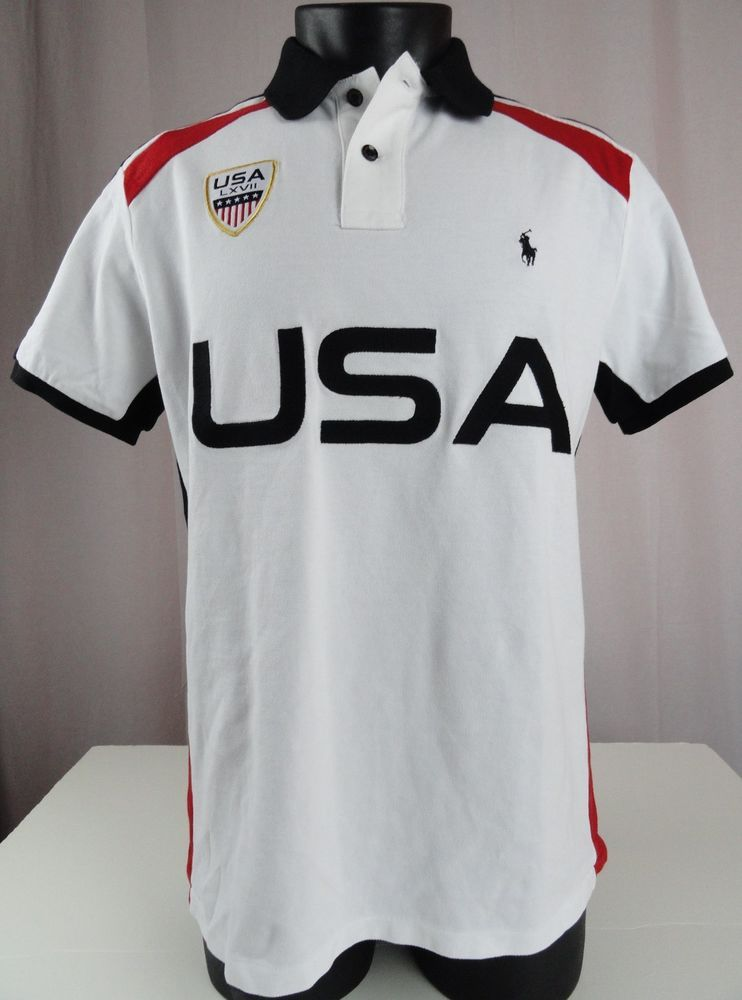 8849e2132a3dd NWT Polo Ralph Lauren L Mens Polo Shirt USA Crest Country White Black Red  Custom  PoloRalphLauren  PoloRugby