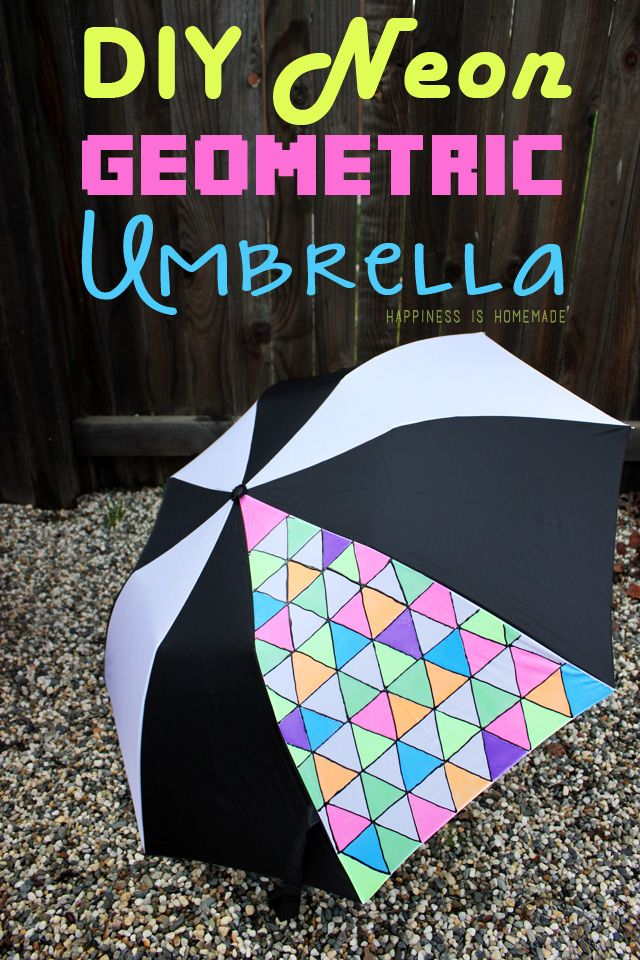 27c8a4530f605 DIY Geometric Umbrella - Get Your Neon On! - Happiness is Homemade ...