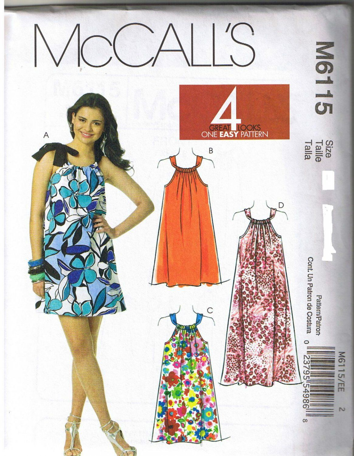 McCALL\'S 6115 WOMEN\'S PILLOWCASE DRESS SEWING PATTERN NEW & UNCUT ...