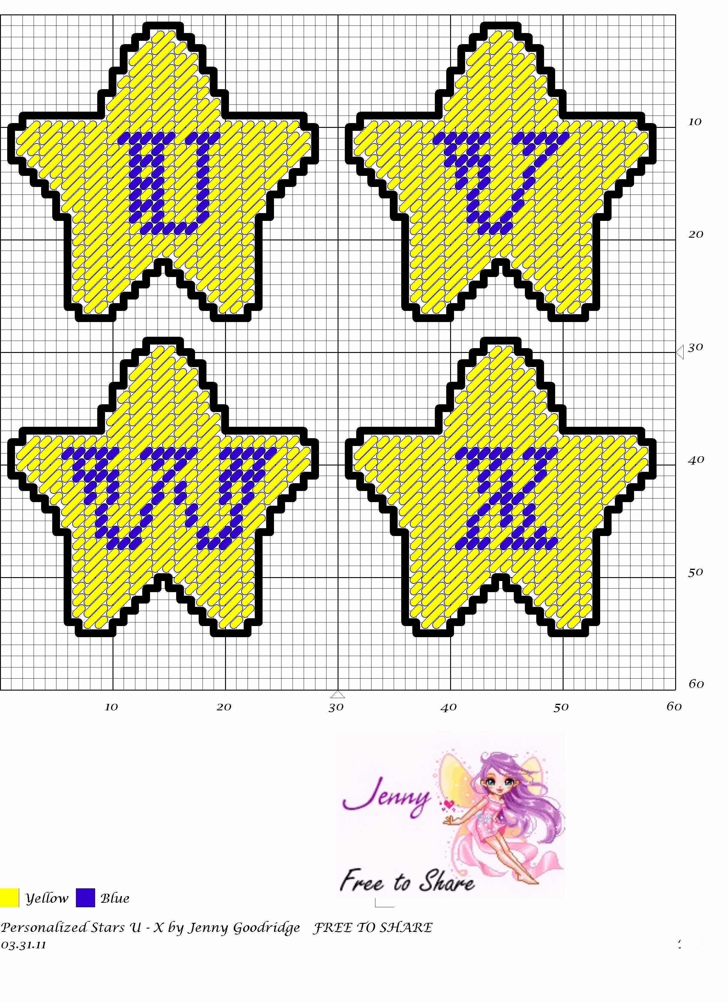 Personalized Stars U-X | alfabeto punto de cruz | Pinterest ...