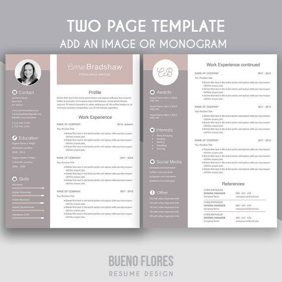 Sample Two Page Resume Introducing Carrie Bradshaw A Feminine Multipurpose Design Which .