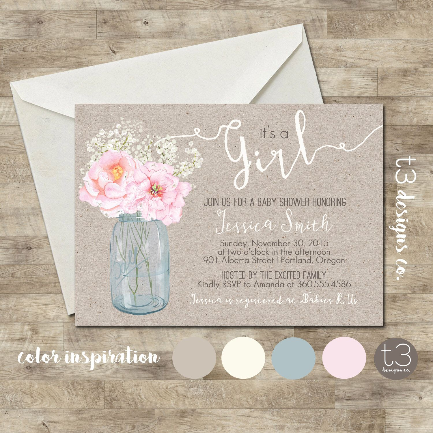 Country Girl Baby Shower Invitation, rustic baby shower invite ...