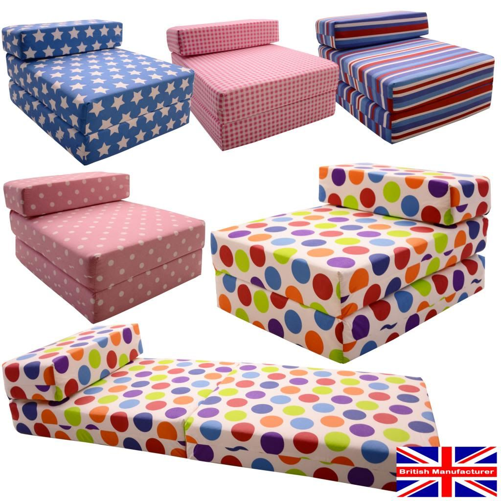 Kids Chair Bed chair bed in choice print fabrics DOVUMLE | Fold up