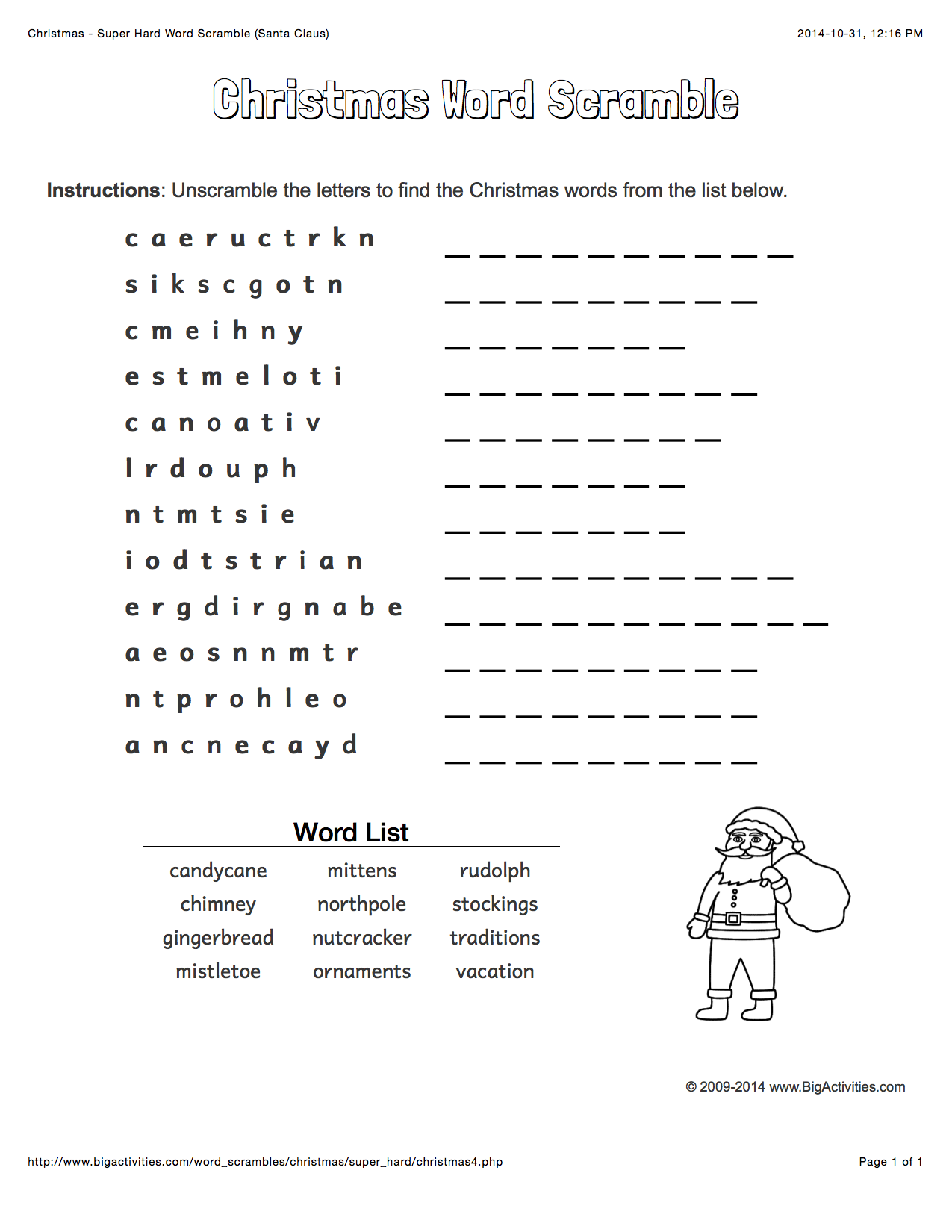 Christmas Word Scramble With Santa Claus 4 Levels Of Difficulty Scrambled Words Change Each