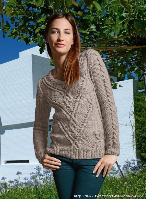 Beige sweater with Aran