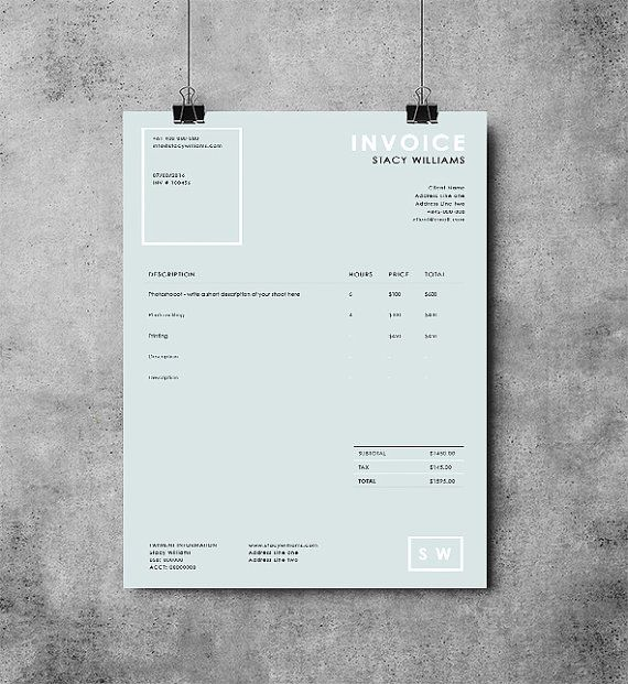 Photography invoice template Photography receipt MS Word and - photography invoice template