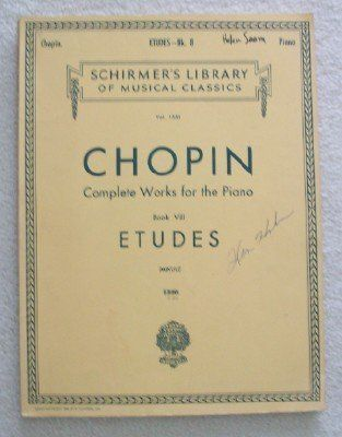 Schirmer S Library Of Musical Classics Chopin Complete Works For The Piano Book Viii Etudes By Mikuli Carl Ed Http Www Ama Summer Learning Musicals Books