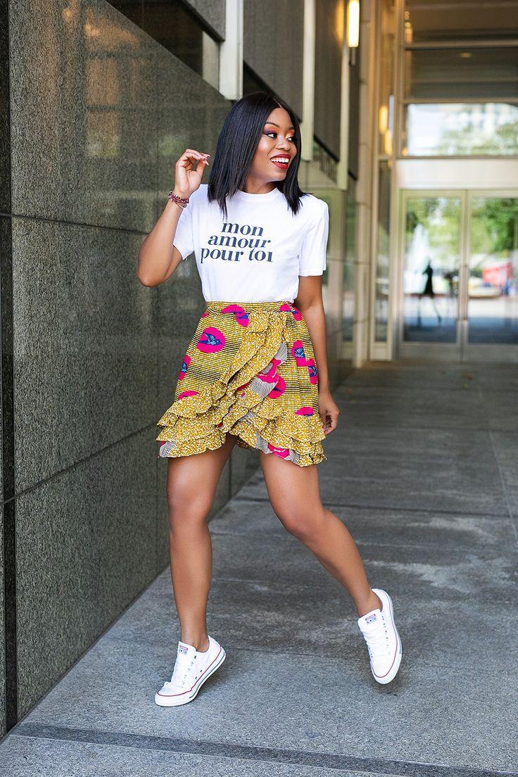 african print skirt, graphic tee, www.jadore-fashio…