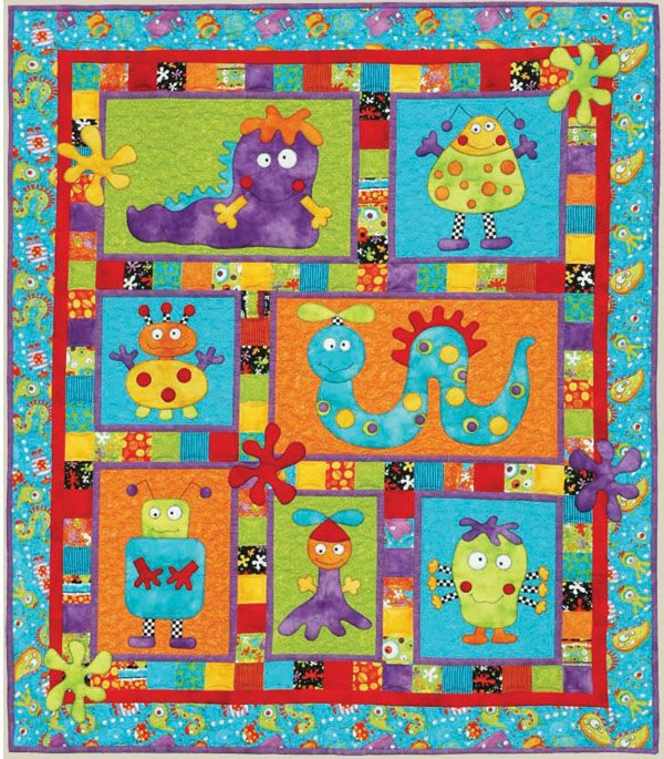 Kids quilts monster patch pattern quilt patterns and for Monster themed fabric