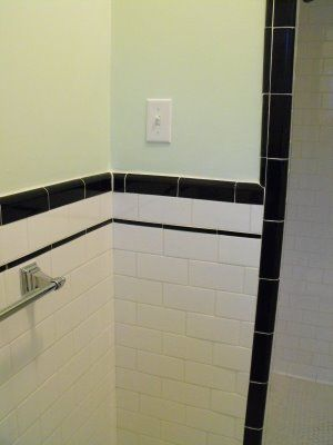 Good Home Construction S Renovation Blog 1930 Bathroom With White Subway Tile And Black Trim