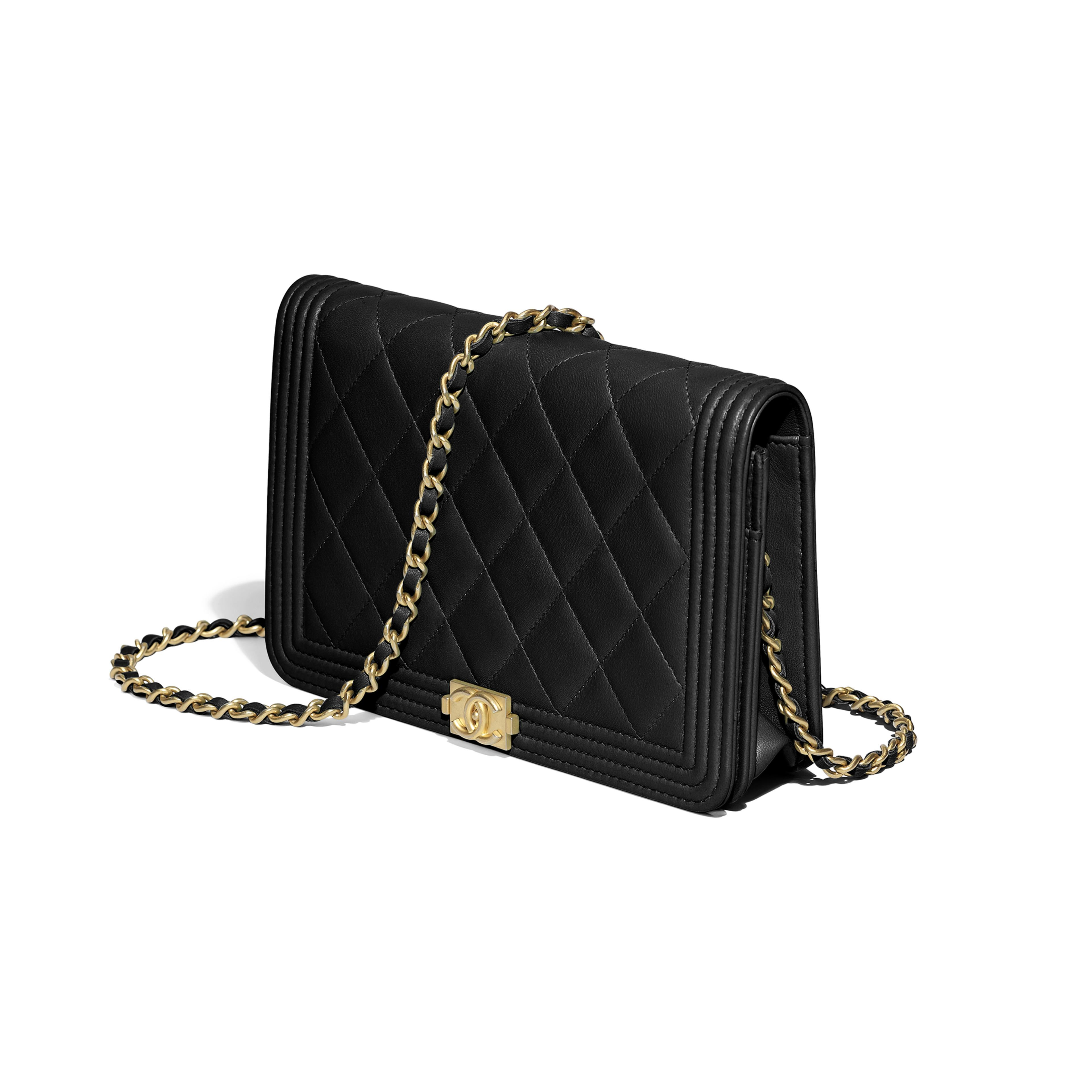 fc5b4d247a69 BOY CHANEL Wallet on Chain - Black - Lambskin & Gold-Tone Metal - Other  view - see full sized version