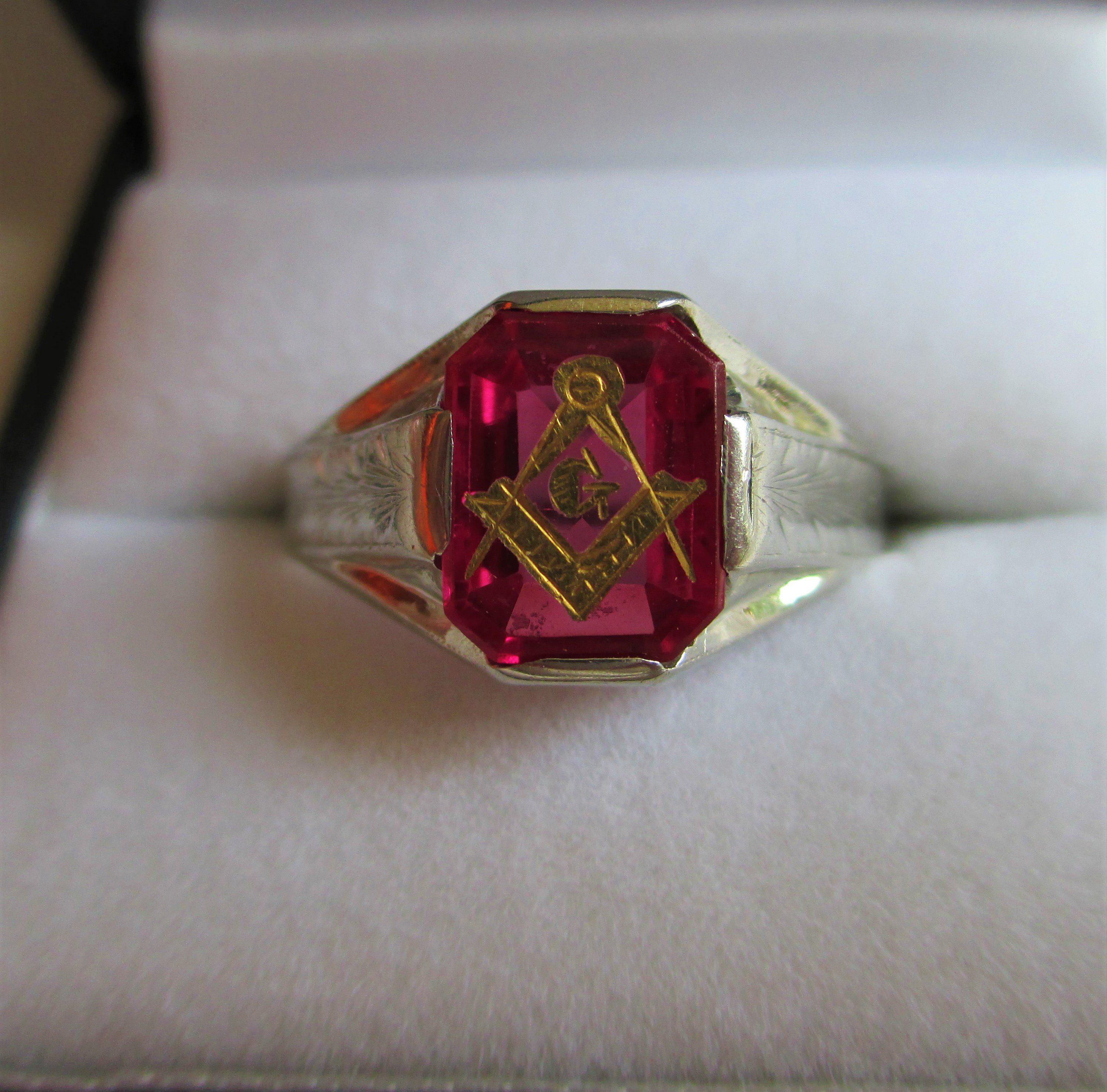 Antique 10k White Gold Masonic Ring Freemasonry Masonic Signet Ring Very Old Carved Ruby Red Stone 10k Size 11 Ruby Masonic Masonic Ring Signet Ring Red Stone