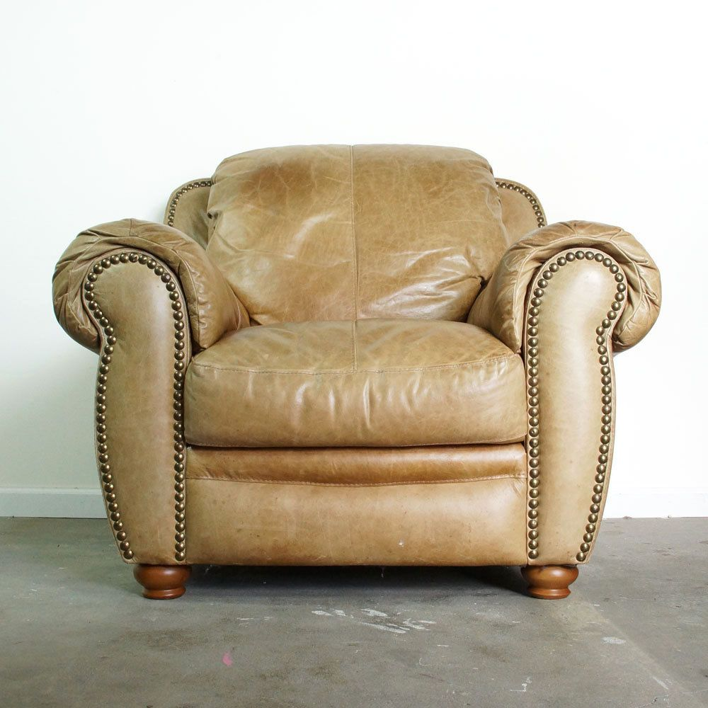 Overstuffed leather chair - Leather Club Chair With Ottoman Vintage Distressed Brown Leather Overstuffed Library Chair With Nailhead Trim