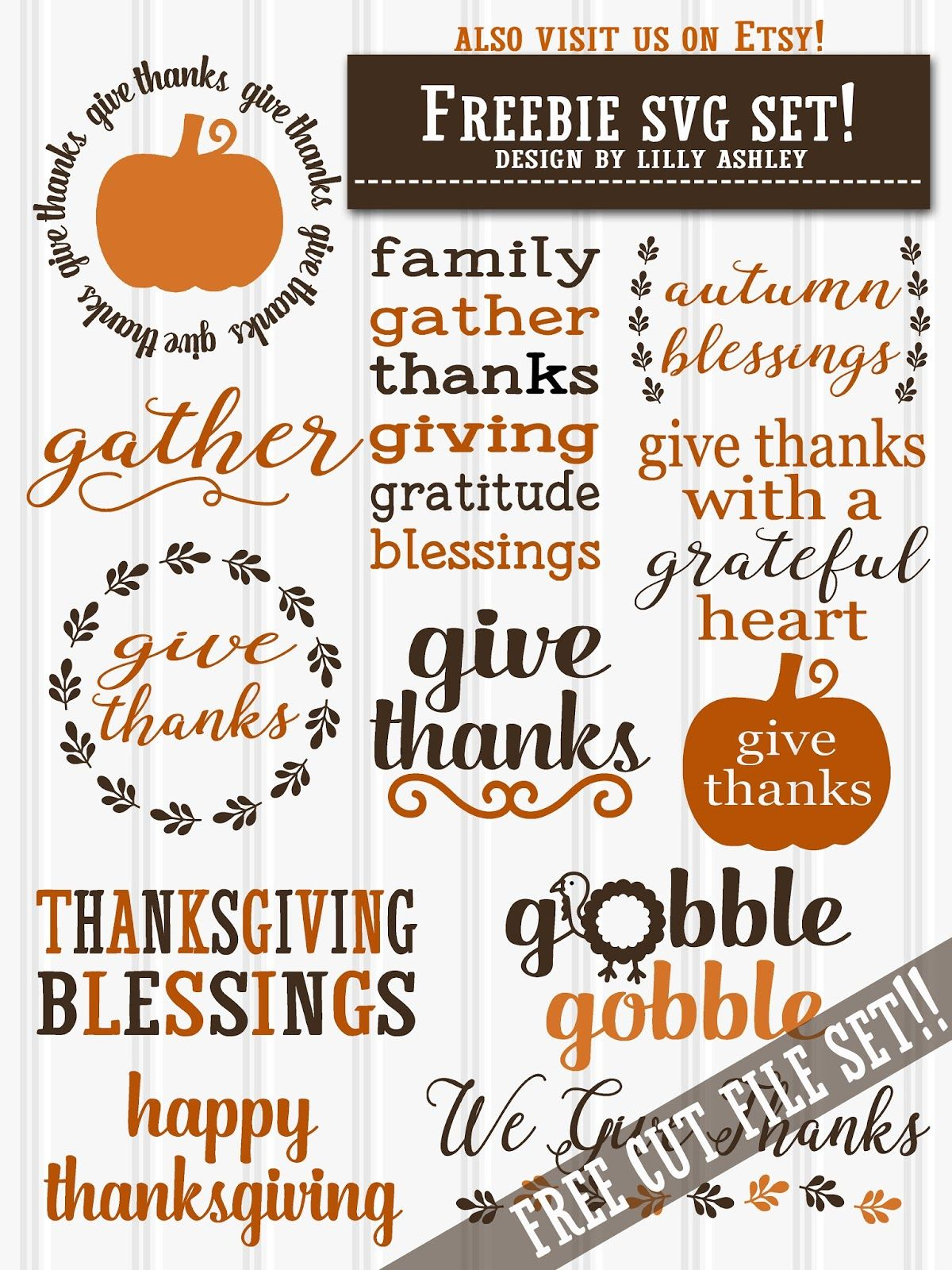 Free Thanksgiving Svg Set Silhouette Files Pinterest