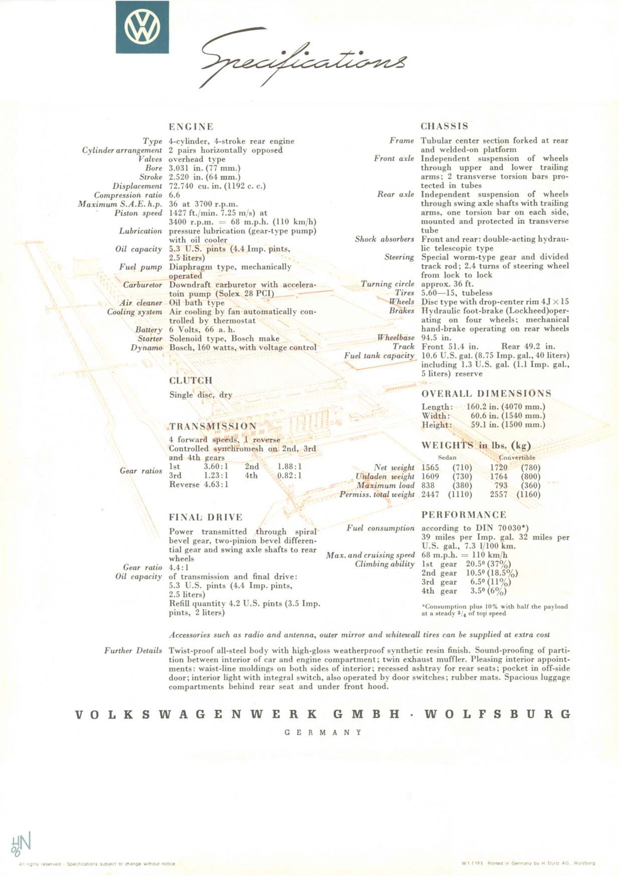 1954 VW Beetle U S brochure page 12