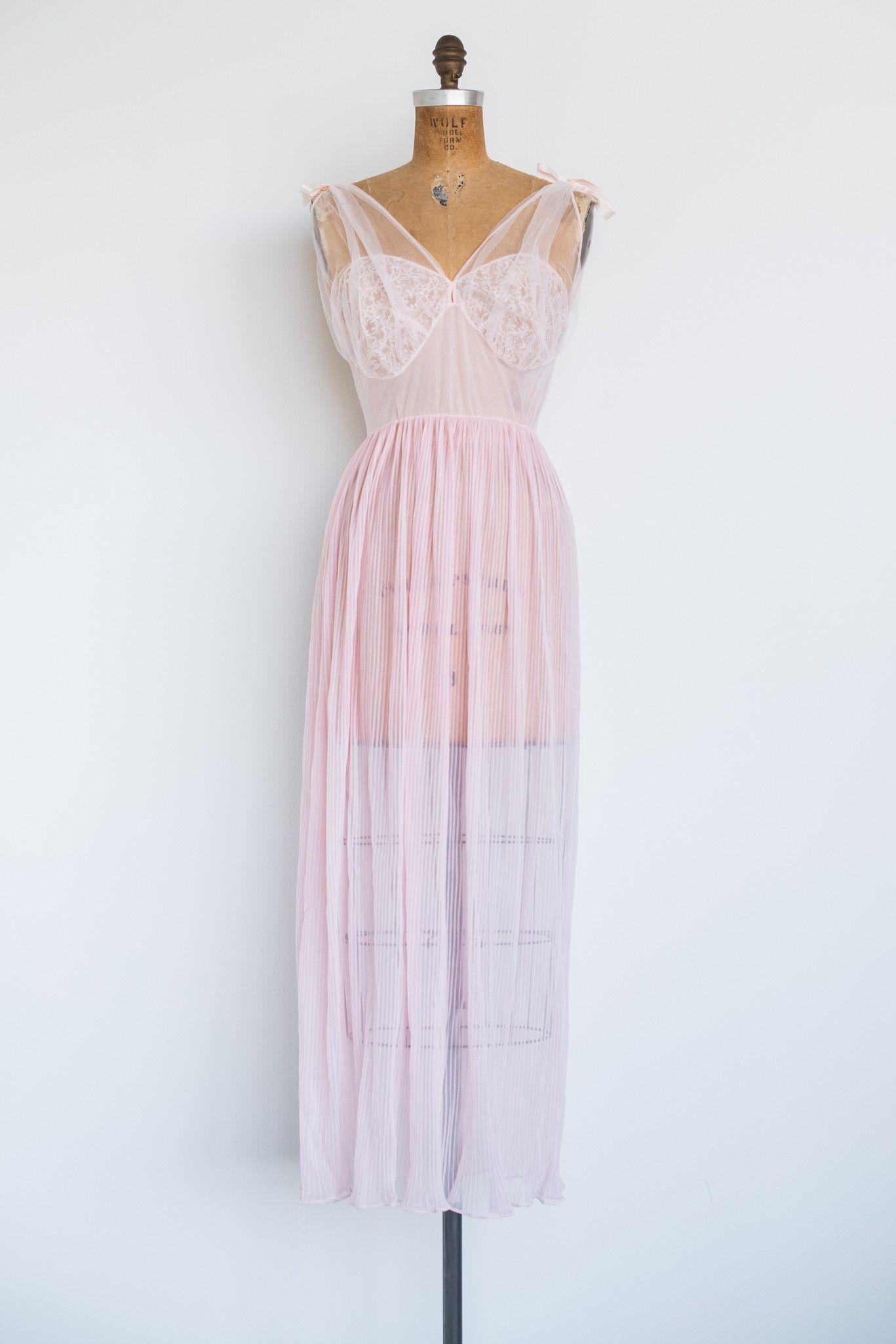 1950s Pink Nylon Slip with Jacket - S/M