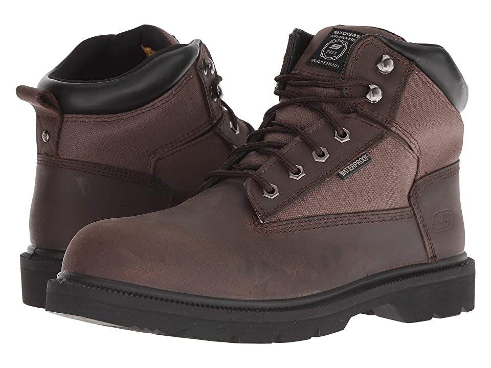 Skechers work makanix bridgend brown mens work boots