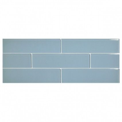 "Complete Tile Collection Glass Expressions Tile - Hawthorn Blue Light - Clear, 3"" x 12"" Glass Tile, MI#: 039-G1-267-203, Color: Hawthorn Blue Light"