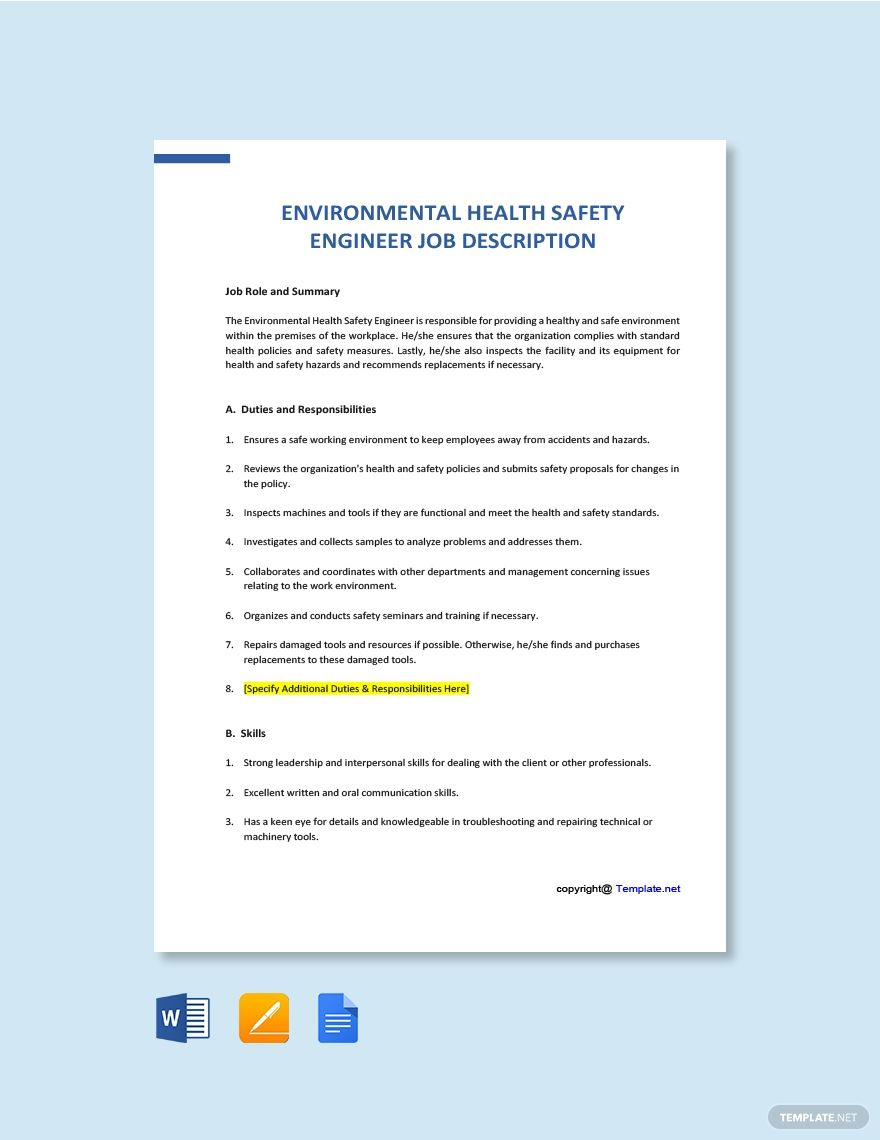 Free Environmental Health Safety Engineer Job Description