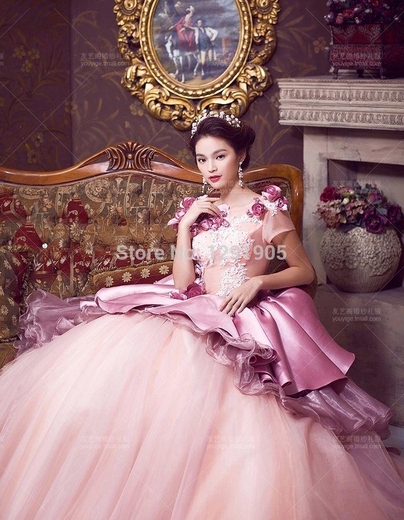 100% reales floral bordado con volantes largo del vestido de bola ...