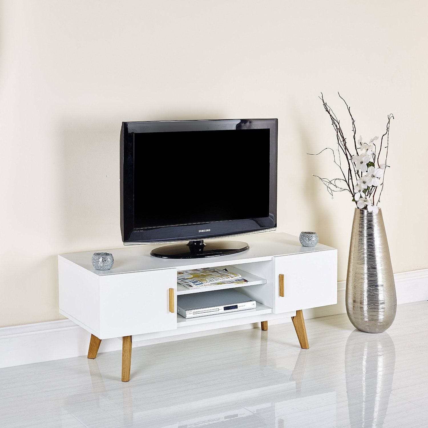 Scandinavian White Retro Tv Stand For 32 To 55 Television Entertainment Unit Cabinet With Shelves White Retro