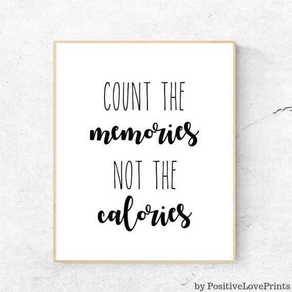 Kitchen Printable Quote for Wall Decor - Count the memories not the calories, Kitchen Inspirational Art, Food Humor Wall Art, DOWNLOAD