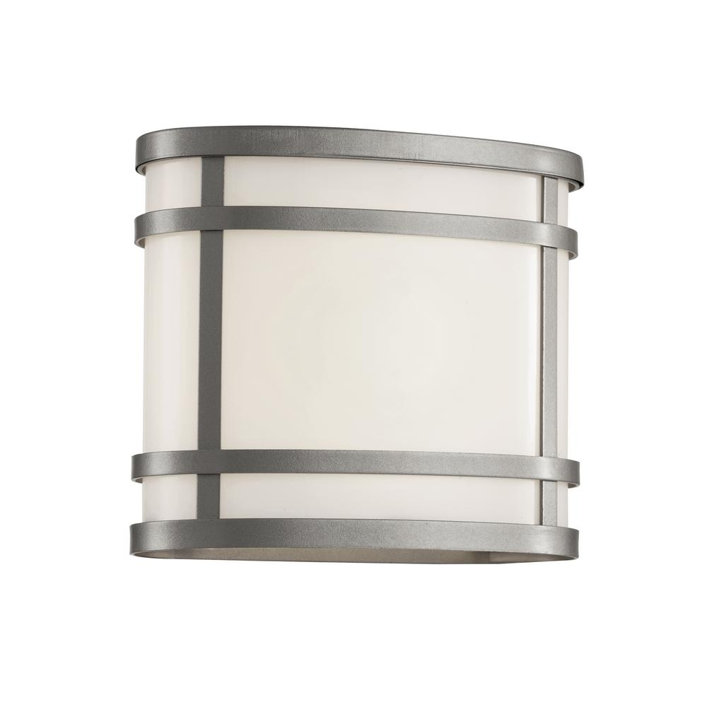 Light silver outdoor wall lantern with frosted glass outdoor