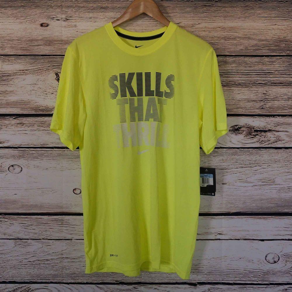 fd8febb4 NIKE Dri-Fit TShirt Skills That Thrill Yellow Graphic Tee Size M New #Nike # GraphicTee