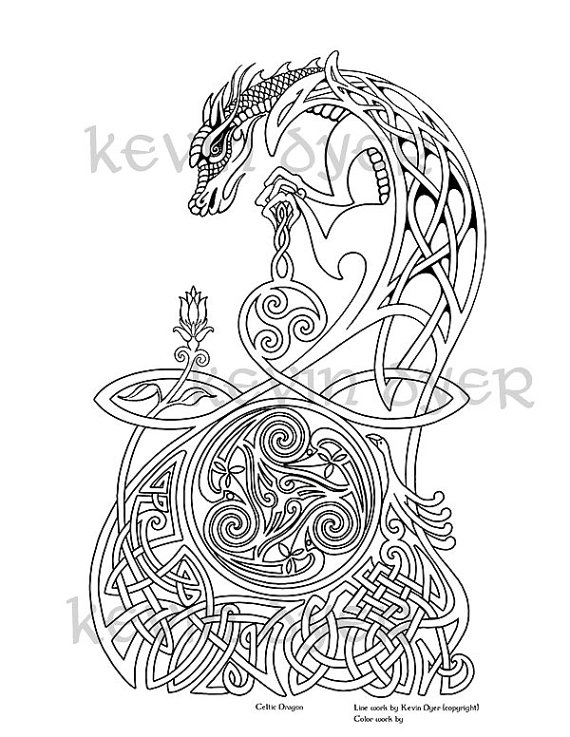 Celtic Fantasy Adult Coloring Pages Digital Download Tree Of