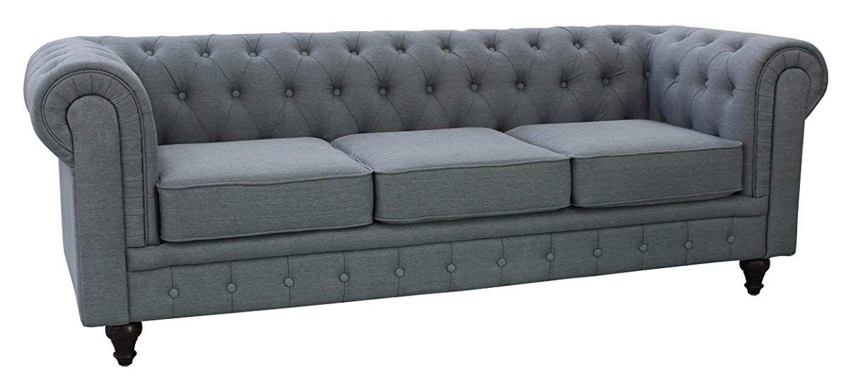 Us Pride Furniture S5070 S Linen Fabric Chesterfield Sofa Set