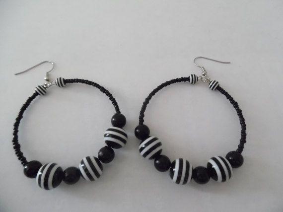 Black and white striped hoop earrings, Black and white beaded hoop ...