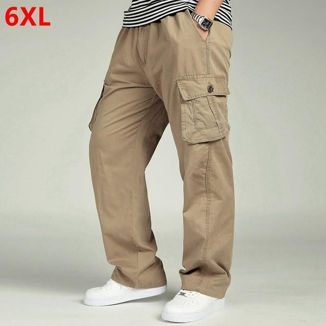 2694ef2e9b3 YDTOMM Spring and autumn men loose big size XL straight pants oversize  elastic waist trousers casual pants men 6XL 5XL 4XL 3XL