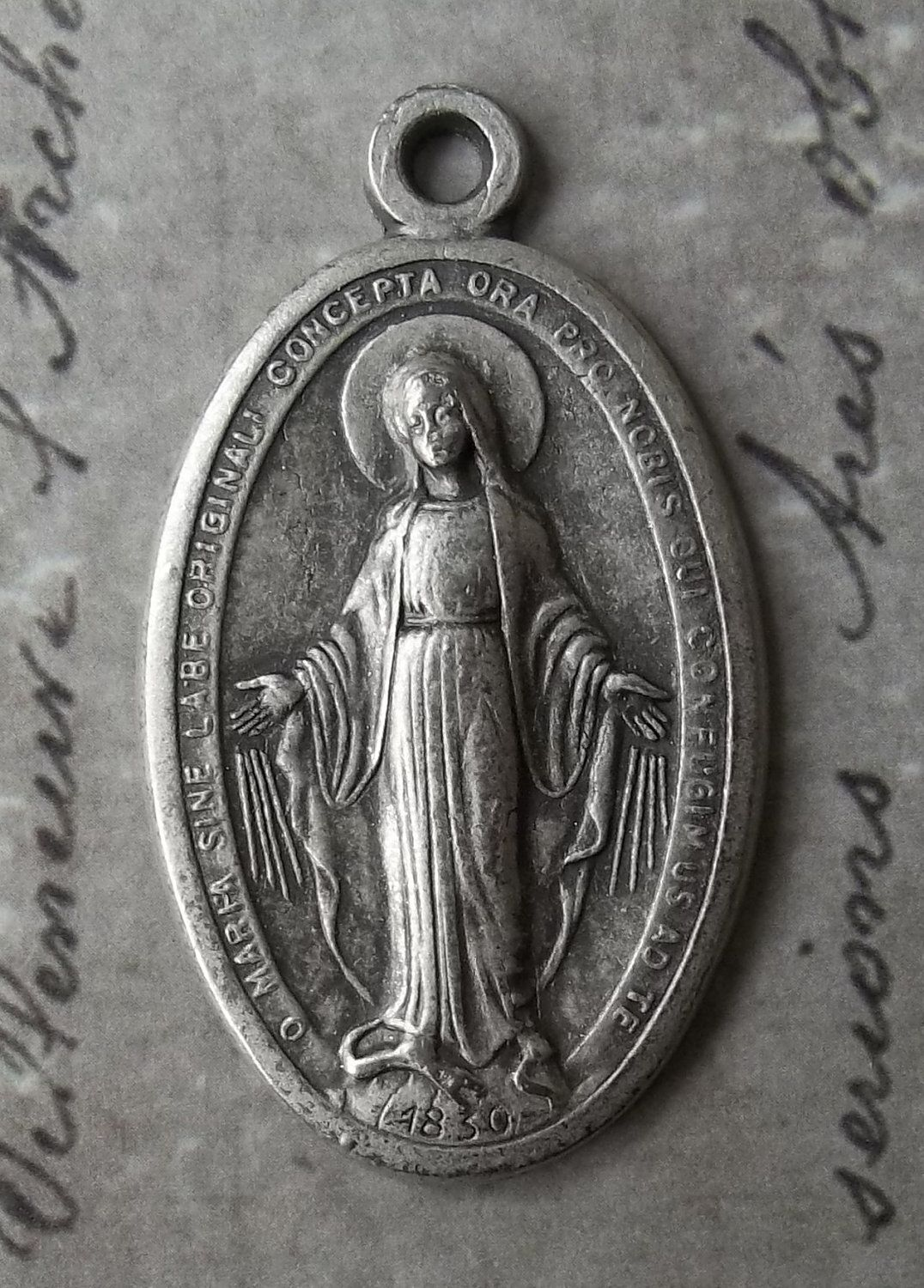 Large Burnished Oval Italian Miraculous Medal Of The Immaculate Conception 1830 Blessed Virgin Mary Mother Of God