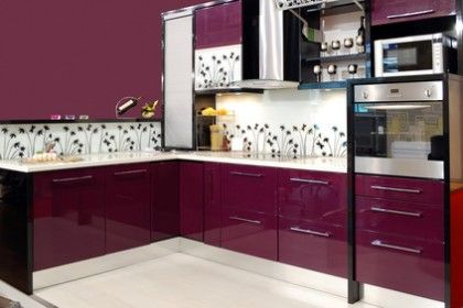 ultra modern kitchen with magenta laquered cabinets stainless floral backsplash homeclick community - Magenta Kitchen Design