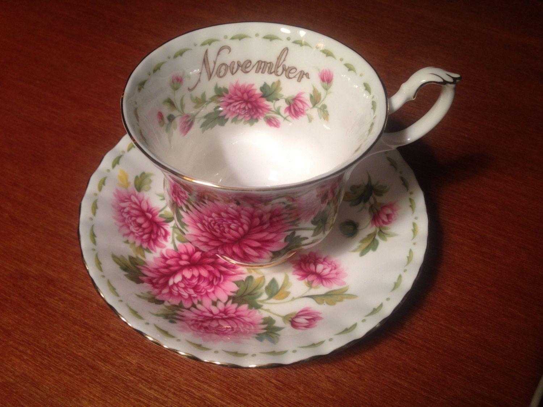 November Tea Cup and Saucer Royal Albert Bone China with