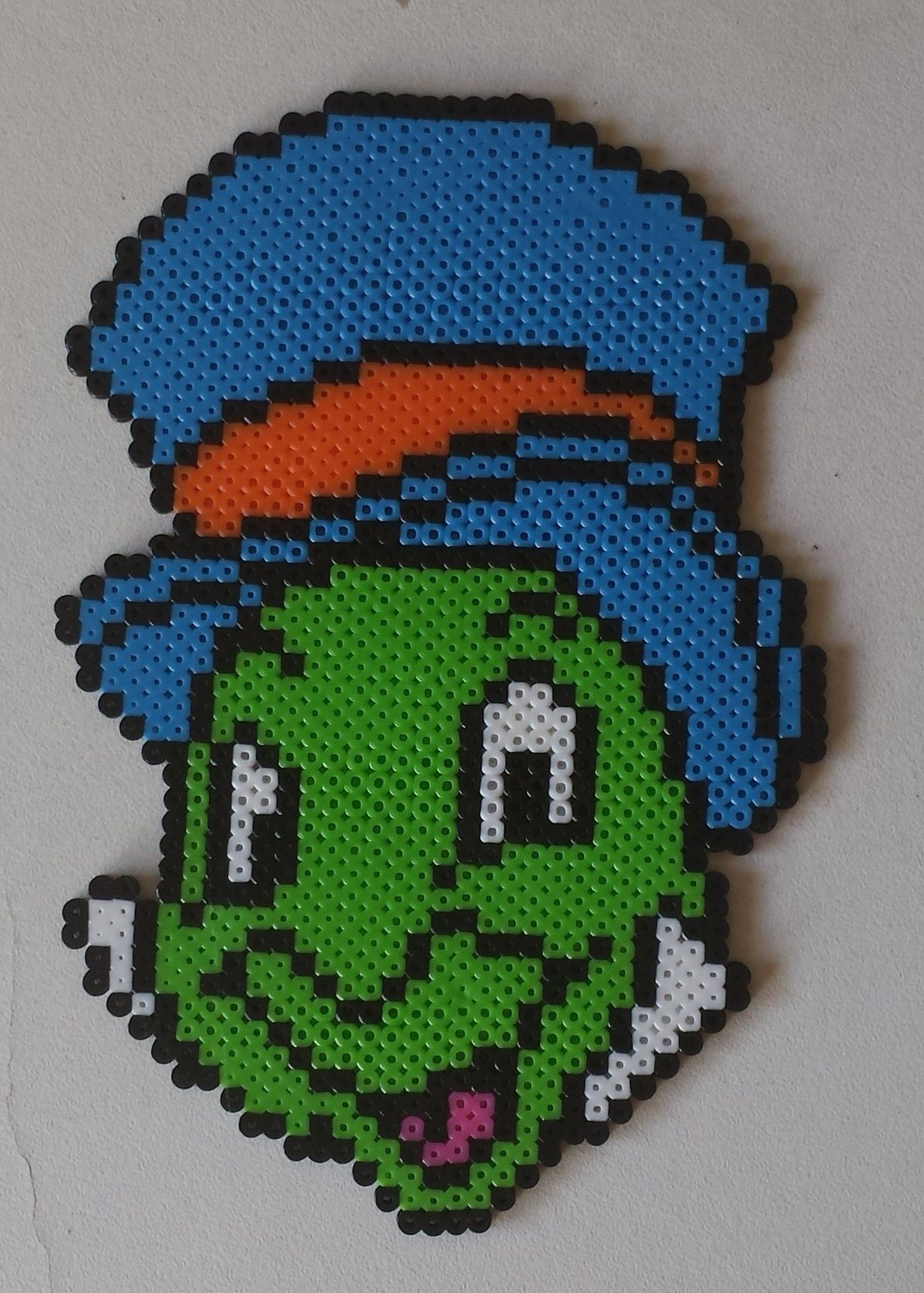 Week 18, Day 126, Movie, Jiminy Cricket. Done in mini beads. 365 Day Perler Bead Challenge.