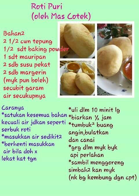 Roti puri (Mas Cotek) | Cooking recipes, Food receipes, Food